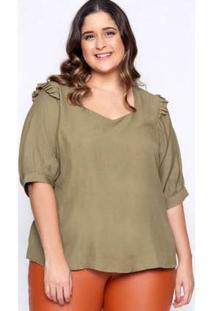 Blusa Almaria Plus Size Lasala Lisa Verde Verde