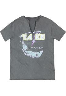 T-Shirt Em Malha De Algodão Com Decote Em V