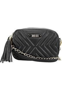 Bolsa Santa Lolla Mini Bag Matelassê Corrente Feminina - Feminino-Preto