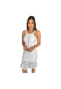 Vestido Boutelle De Festa Curto Renda Bojo Premium Branco