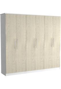 Guarda-Roupa Casal 6 Portas 100% Mdf 976 Branco/Marfim Areia - Foscarini
