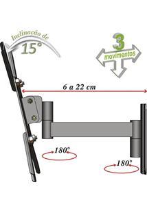 Suporte Para Tv 10 A 48 Articulado 3 Movimentos Oled/4K/3D/Led/Lcd Ou Plasma Preto Mf2031
