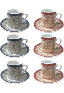 Jogo De 6 Xícaras De Café Expresso Em Porcelana Coffe Time 80 Ml