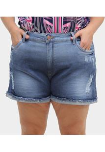 Shorts Jeans Xtra Charmy Plus Size Rasgo Feminino - Feminino-Azul
