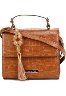 Bolsa Loucos & Santos Mini Bag Croco Barbicacho Feminina - Feminino-Marrom Claro