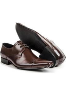 Sapato Social Couro Verniz Bico Cap Toe Confort Masculino - Masculino-Marrom