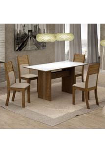 Conjunto De Mesa De Jantar Florença I Com 4 Cadeiras Havaí Linho Branco E Bege