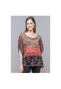 Blusa 101 Resort Wear Poncho Renda No Decote Cavado Crepe Estampado Joias Antigas