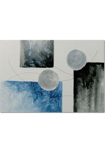 Quadro Artesanal Com Textura Abstrato I Azul 70X100 Uniart