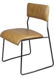 Cadeira Lampa Couro Natural Caramelo Com Base Aco Bruto - 43468 Sun House
