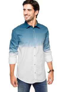 Camisa Triton Dip Dye Azul/Branca