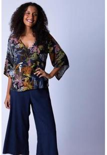 Blusa Bata Estampa Cravina Feminina - Feminino-Azul Claro