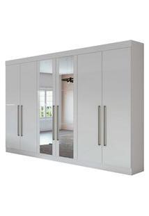 Guarda Roupa Casal C/ Espelho 6 Portas 4 Gavetas Castellaro Branco Lopas