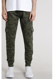 Calça Masculina Relaxed Cargo Estampada Camuflada Em Moletom Verde Militar