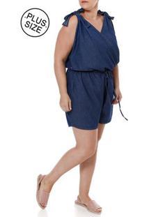 Macaquinho Jeans Plus Size Feminino Azul