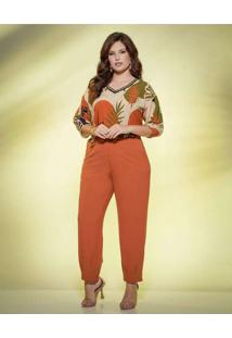 Blusa Almaria Plus Size New Umbi Com Decote Punho