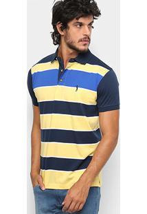 Camisa Polo Aleatory Fio Tinto Listrada Masculina - Masculino-Marinho+Amarelo