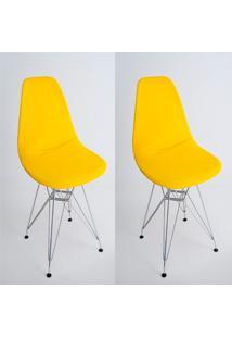 Kit Com 02 Capas Para Cadeira Charles Eames Eiffel Wood Amarelo