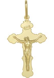 Pingente Prata Mil Cruz Com Cristo Lisa Dourado