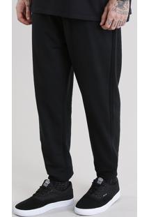 Calça Masculina Jogger Em Moletom Com Textura E Zíper Preta