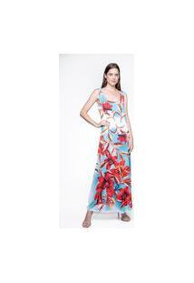 Vestido 101 Resort Wear Longo Estampado Flores Vermelhos