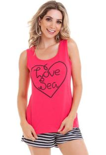 Pijama Short Doll Regata Love Sea Feminino Adulto Luna Cuore