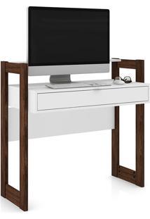 Mesa Para Computador Com 1 Gaveta Az1007 – Tecno Mobili - Branco / Nogal