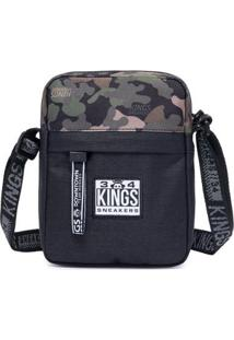 Shoulder Bag Kings Sneakers Bolsa Transvesal Masculina - Masculino-Preto+Verde