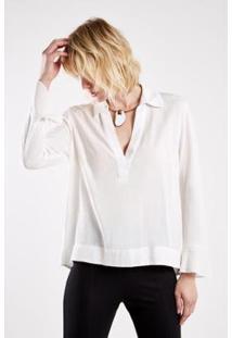 Camisa Detalhe Costas Sacada Feminina - Feminino-Off White