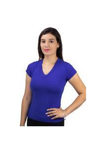 Blusa Básica Feminina Gola V Treluna Azul