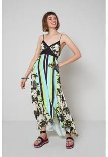 Vestido Longo Oh, Boy! Floral Aurora - Feminino-Branco+Verde