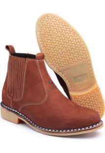 Bota Couro Vira Francesa Top Franca Shoes Masculino - Masculino-Marrom
