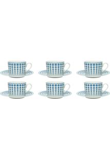 Conjunto 6 Xícaras De Porcelana Para Chá Bon Gourmet Blue Dots 200Ml