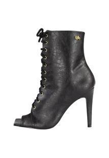 Bota Salto Alto Bico Quadrado Week Shoes Com Cadarço Rugo Preto