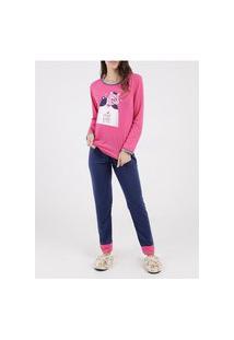 Pijama Longo Feminino Pink/Azul Marinho