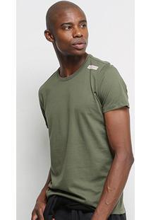 Camiseta T-Shirt Acostamento Básica Masculina - Masculino-Verde Militar