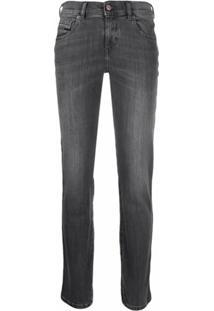 Diesel Calça Jeans Slim Com Efeito Desbotado - Preto