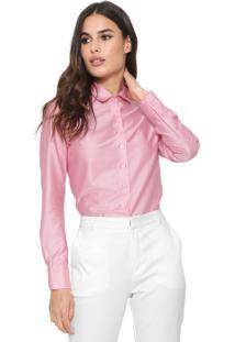 Camisa Dudalina Reta Cetim Rosa