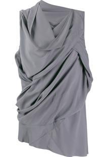 Rick Owens Blusa Assimétrica Drapeada - Azul