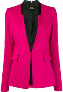 Karl Lagerfeld Blazer Slim Sem Lapelas - Rosa
