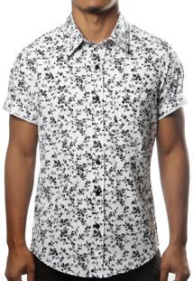 Camisa Camaleão Urbano Floral Califórnia Branca