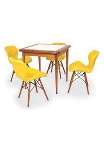 Conjunto Mesa De Jantar Em Madeira Imbuia Com Azulejo + 4 Cadeiras Slim - Amarelo
