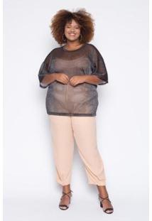 Blusa Almaria Plus Size Alt Brand Lux Feminina - Feminino-Preto