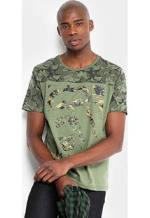 Camiseta Camuflada Ecko Manga Curta Masculina - Masculino-Verde Militar