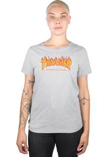 Camiseta Thrasher Magazine Feminina Flame Logo Cinza