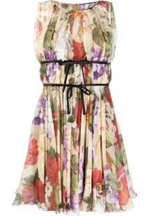 Dolce & Gabbana Vestido Sem Mangas Com Estampa Floral - Neutro