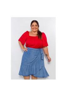 Blusa Plus Size Feminina Lisamour Decote Quadrado Vermelha