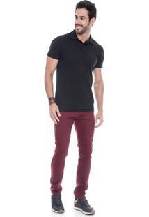 Calça Sarja Lemier Jeans Collection Slim Fit Color Vinho