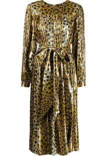 Marc Jacobs Vestido Animal Print Com Cinto - Dourado