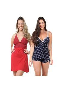 Pijama Isa Lingerie 1 Baby Doll Estampado 1 Camisola Vermelha